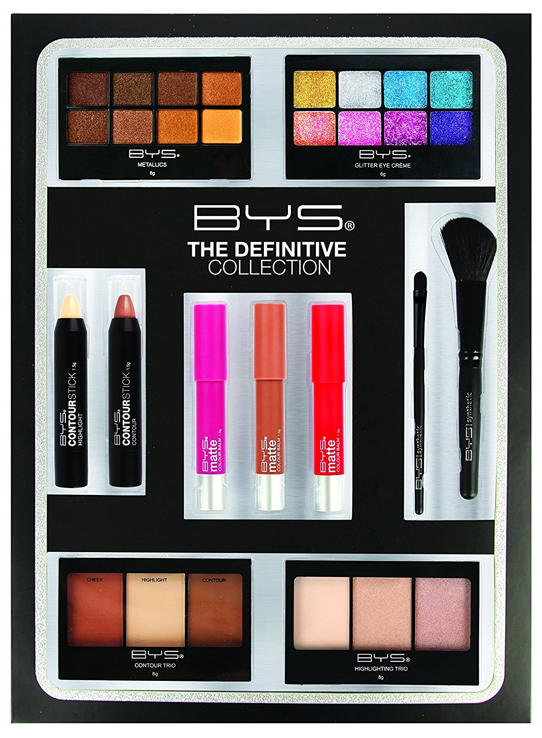 BYS Jumbo Makeup Kit Eyeshadow palette, Glitter Eye Crème palette, Highlight & Contour Sticks, Matte Lip Colors, Eye & Face Brush, Contour & Highlight Palettes, makeup gift set