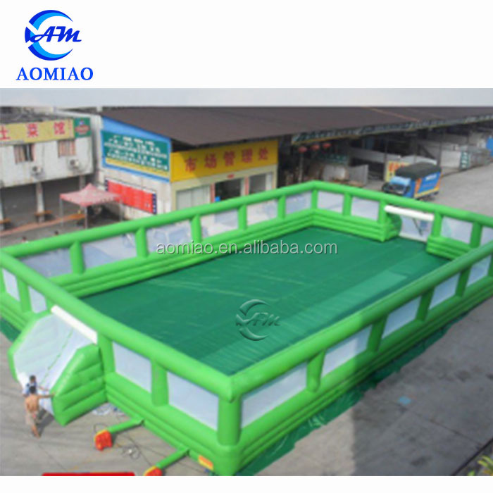 Top quality air sealed portable football pitch giant new inflatable soap soccer field for sale