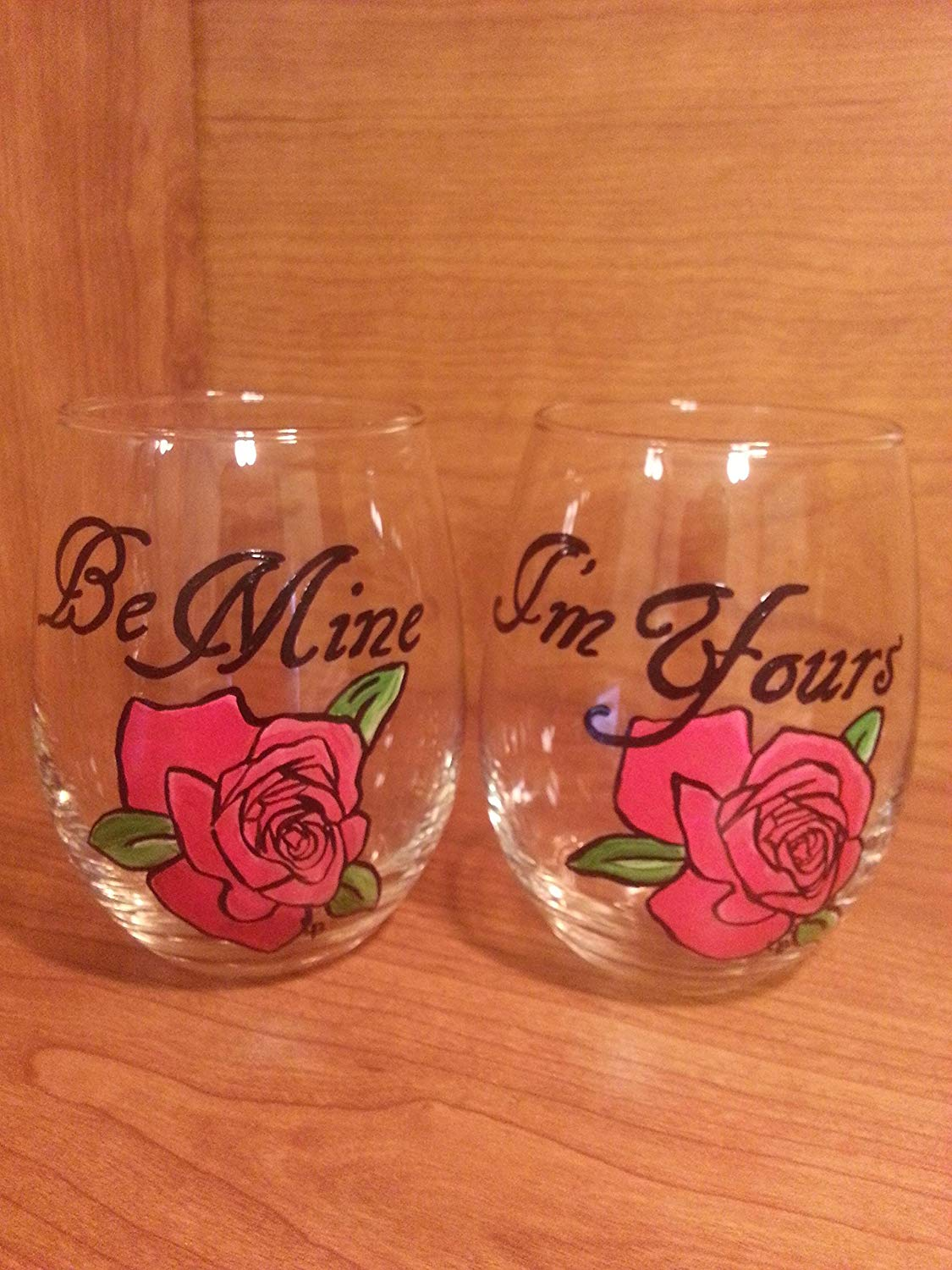 15 oz. Stemless Wine/Juice Glass - Red Rose - Set of 2 - I'm Yours/Be Mine