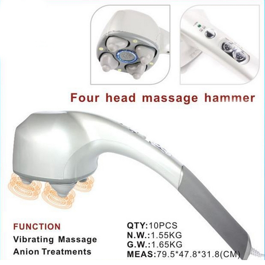 High quality 4 head ABS body electric massager relax tone handheld with infrared vibration massager