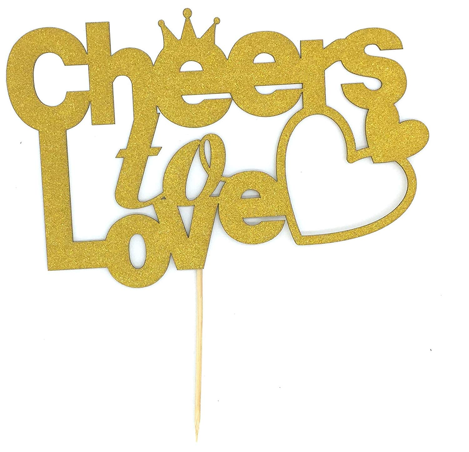 Toomeecrafts Cheers to Love Cake Topper, Cheers to Love Bridal Shower, Bride to Be Cake Topper, Wedding Cake Topper, Engagement Topper, Bachelorette Party Decor, Fall Baby Shower Set of 2
