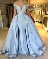 Detachable Skirt 2019 Luxury Appliqued Lace Mermaid Evening Dress Off Shoulder Beading vestido de fiesta