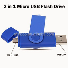 2 in 1 micro usb flash drive custom logo, mobile phone smartphone usb drive 16GB OTG