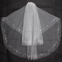 Bridal Lace Trim Ivory Two Layer Wedding Dresses Long Wholesale Bridal Veils