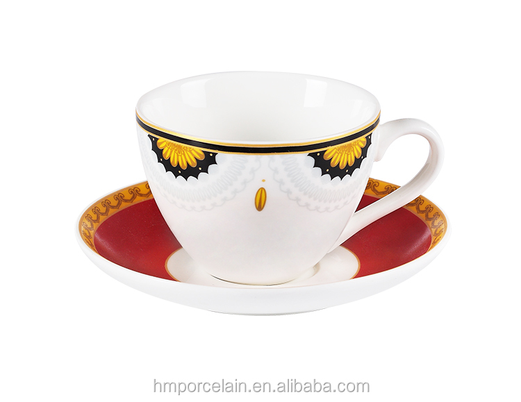Wholesale Set of Six 220ML New Bone China Ceramic Tea Cup with Saucer Sets Porcelain Arabic Style Cups