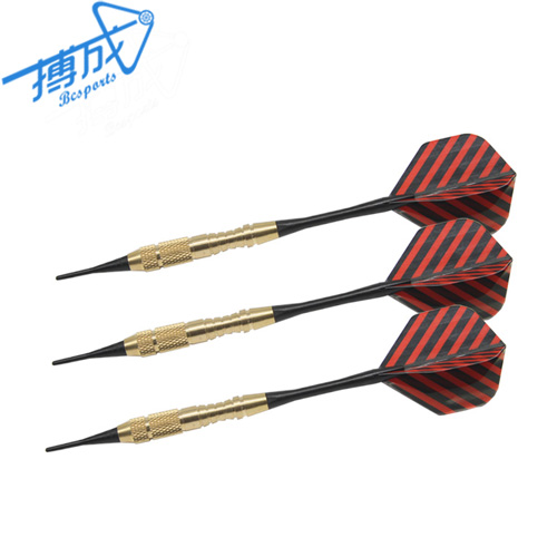 Custom brass soft tip darts with aluminum/nylon shafts and PET flight