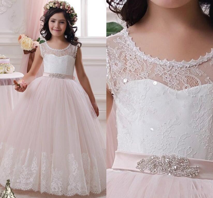 elegant white pink lace flower girl dresses for weddings sash beads first communion dress for. Black Bedroom Furniture Sets. Home Design Ideas
