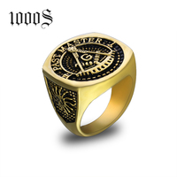 Stainless Steel Masonic Ring for Men Freemason Symbol G Templar Freemasonry Rings