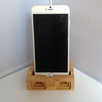 Universal bamboo phone docking station