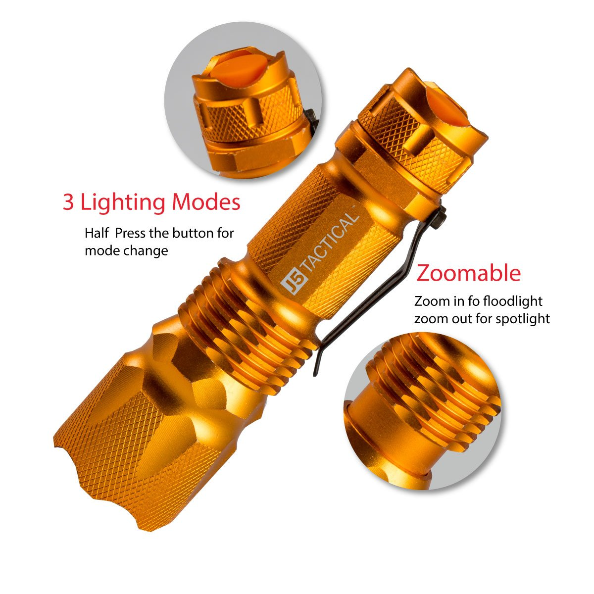 The Original 300 lm Ultra Bright LED Mini 3 Mode Flashlight Hunter Orange/… J5 Tactical J5 V1 Pro Hunter Orange Tactical Flashlight