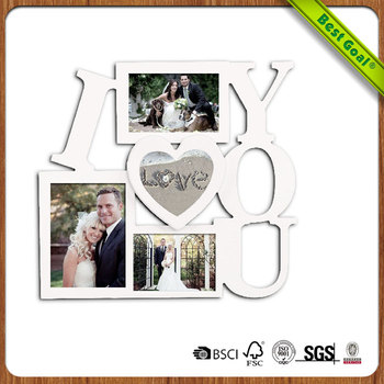 Decorative White Wood \'\'i Love You\'\' Wall Hanging Collage Picture ...