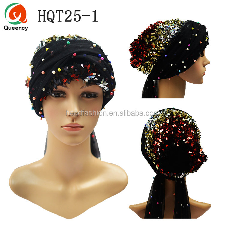 Queency 3D Big Flower Head Covers Women Headscarf Muslim Turbans Chemo Cap Ladies Beanies Hair Accessories