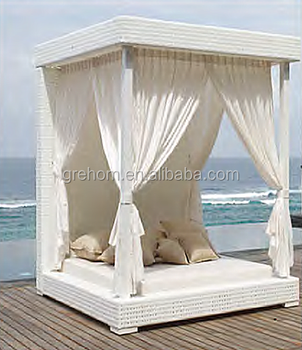 Outdoor Rattan Daybed With Canopy Square Cabana Beds