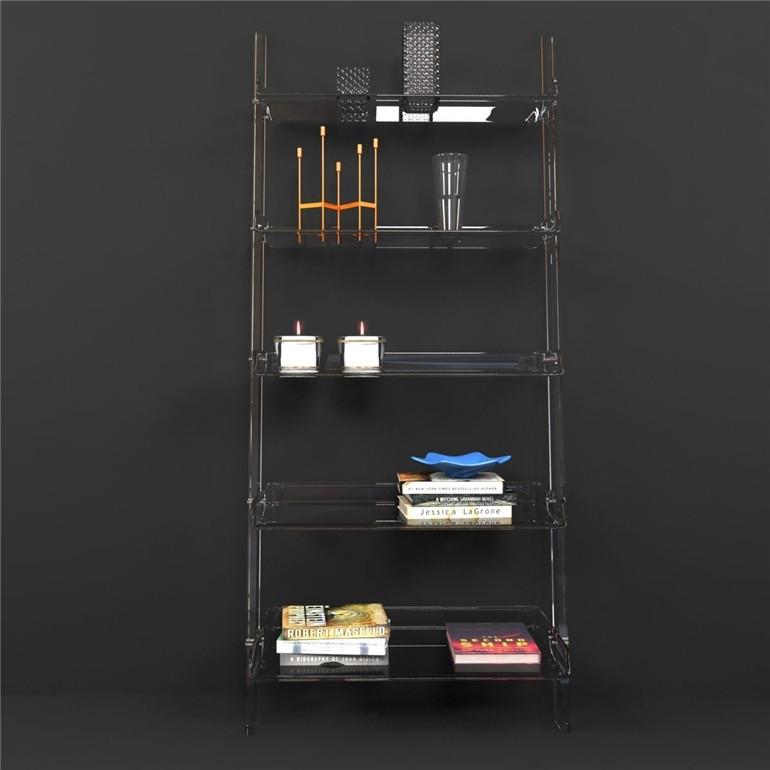 Wholesale High Quality Clear Acrylic Leaning Bookshelf