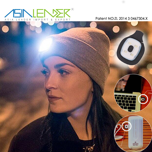 Lighting and Flashing Alarm Modes 8 LED USB Rechargeable Hands Free, LED Light Cap Knitted Beanie Hat