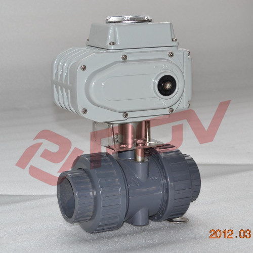 Double union 2 inch electric on off pvc plastic ball valve dn50