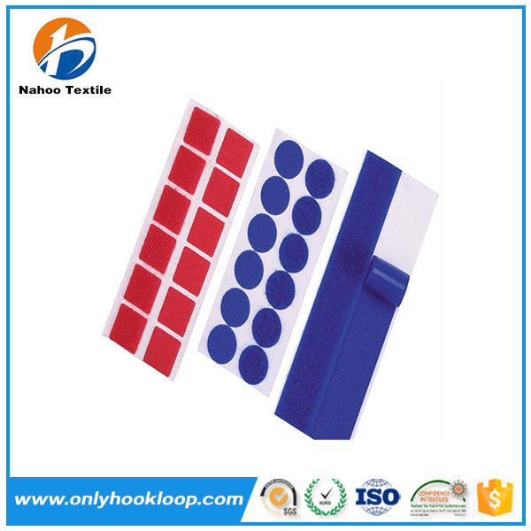 Custom size industrial self adhesive hook and loop dots with 100% nylon material