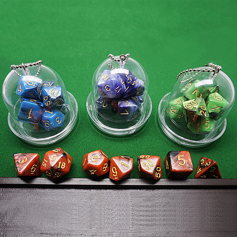 SMH Custom Packing Mini Polyhedral Dice Set in Tube, Dungeons and Dragons RPG Dice Mini Gem Dice Set