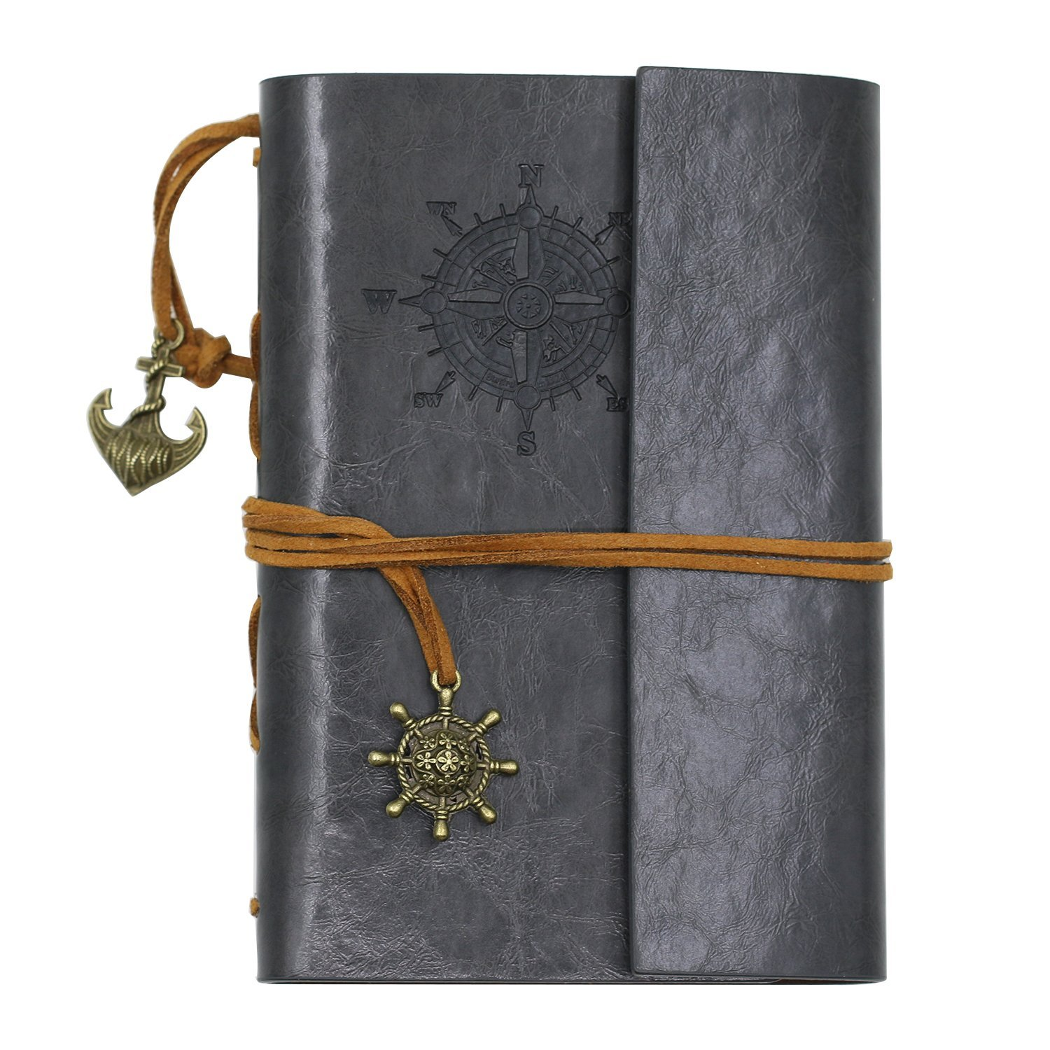 Honghong Retro Anchor Faux Leather Cover Blank Paper Notebook Diary Book with Loose-Leaf binding and String Bound Filofax Gift (Grey)