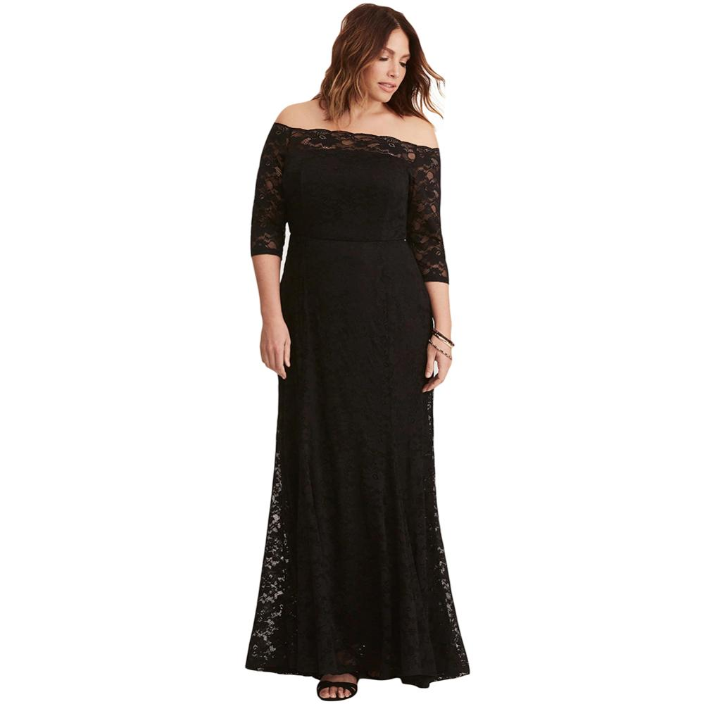 bed9da07ef17 Black Plus Size Lace Off Shoulder Party Maxi Dress - Buy Plus Size ...