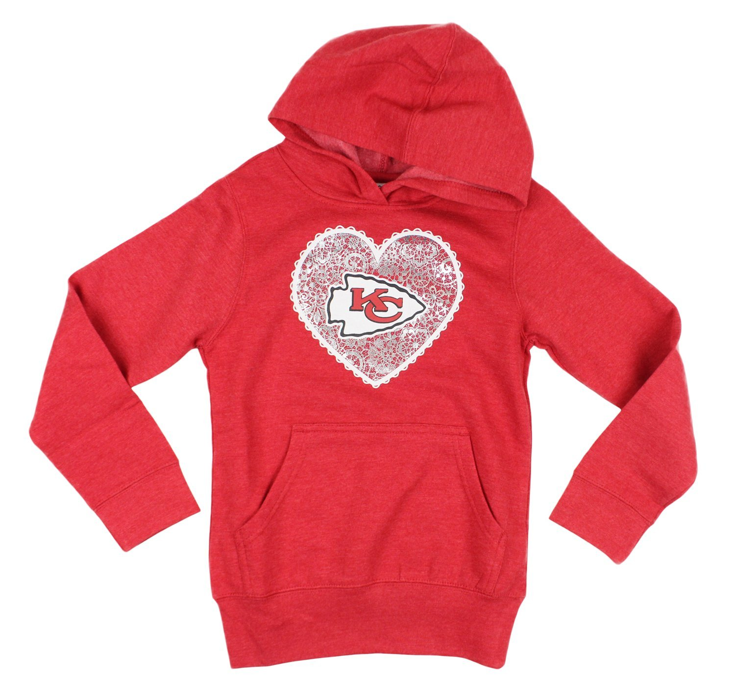 Get Quotations · Kansas City Chiefs NFL Youth Big Girls Team Heart Hoodie -  Red 91baa2485