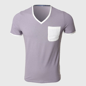 8c3a3c640086 ATSC072 Men Low Cut V Neck T Shirts Plain Cool T Shirt Tight Sexy Tees Shirt