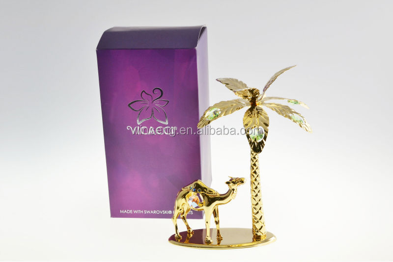 New Product 24K Gold plated Camel with Plam Tree with crystals from swarovski