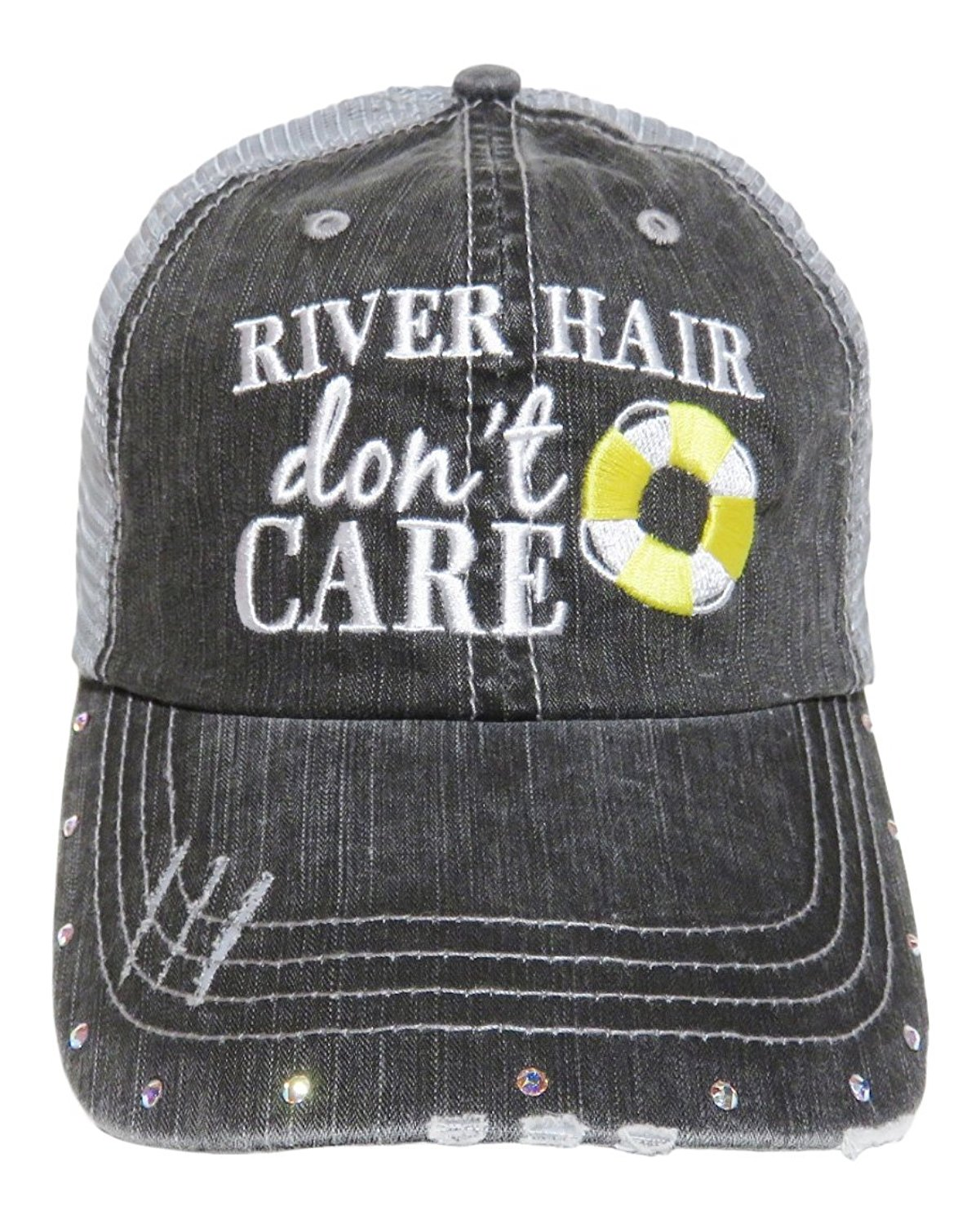 """NEW! Embroidered """"River Hair Don't Care"""" Grey Trucker Cap Fashion"""
