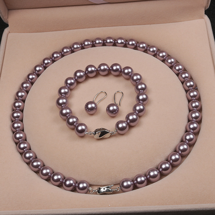 Elegant Freshwater Purple Pearl Jewelry Necklace <strong>Sets</strong> For Mother