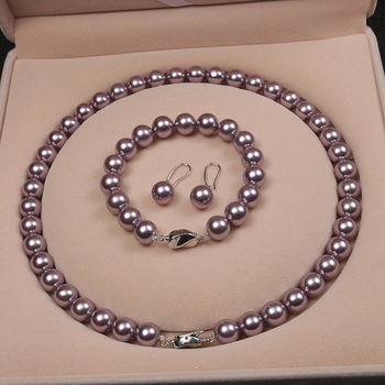 Elegant Freshwater Purple Pearl Jewelry Necklace Sets For Mother