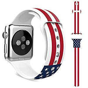 Apple Watch Band,HAPPIGO Soft Silicone Replacement Sport Band for Apple Watch All 42mm Models(3 Pieces of Bands Included for 2 Lengths, Not Fit 38mm Version 2015)(42mm American Flag)