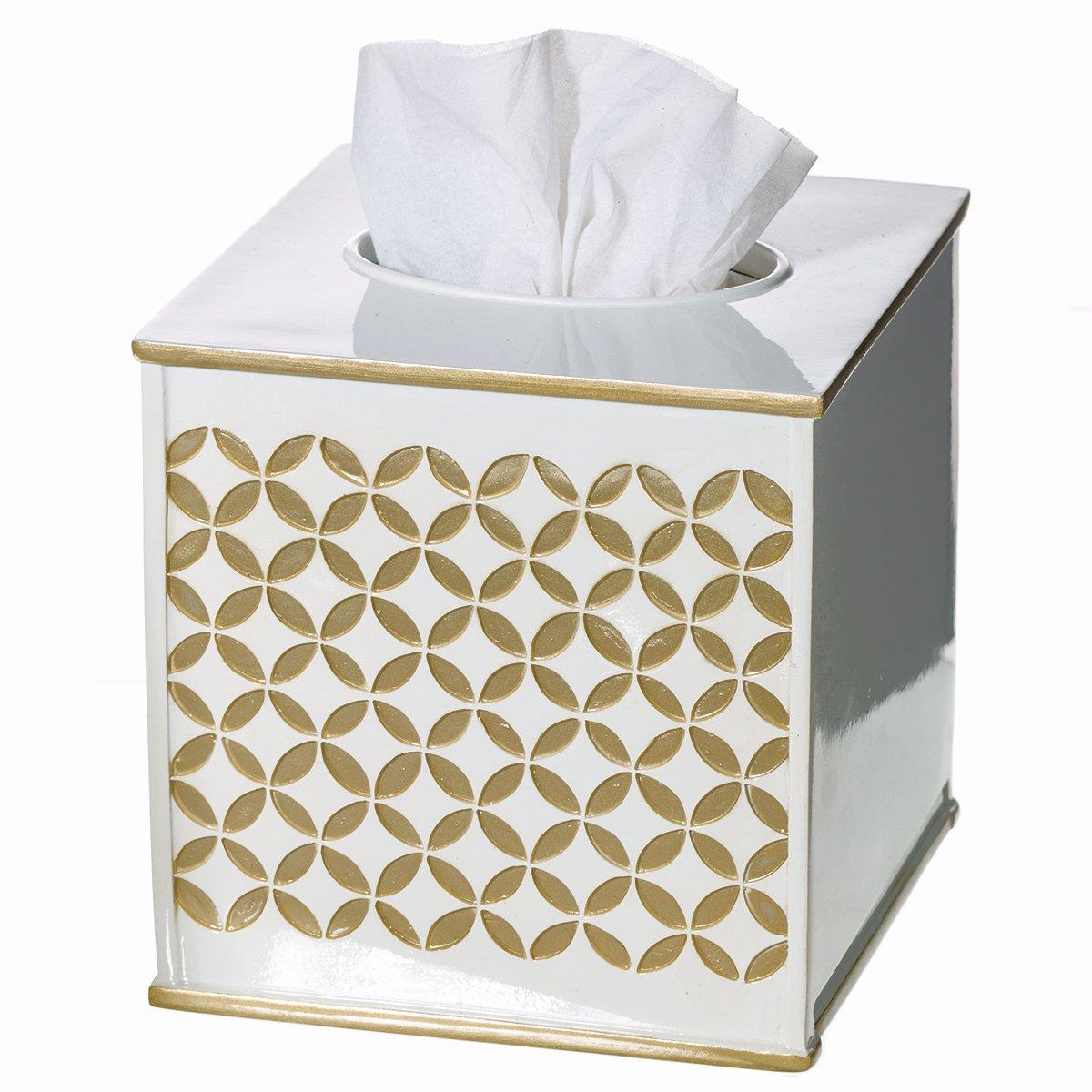 """Creative Scents Gold Tissue Box Cover Square - (6"""" x 6"""" x 5.75"""") – Decorative Bath Tissues Napkin Holder With Bottom Slider- For Cute Elegant Bathroom Decor Diamond Lattice Collection"""