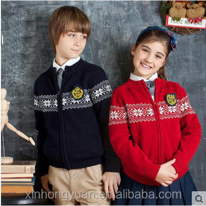 custom fashion spring navy blue/red cotton school students knitting zipper cardigan sweater