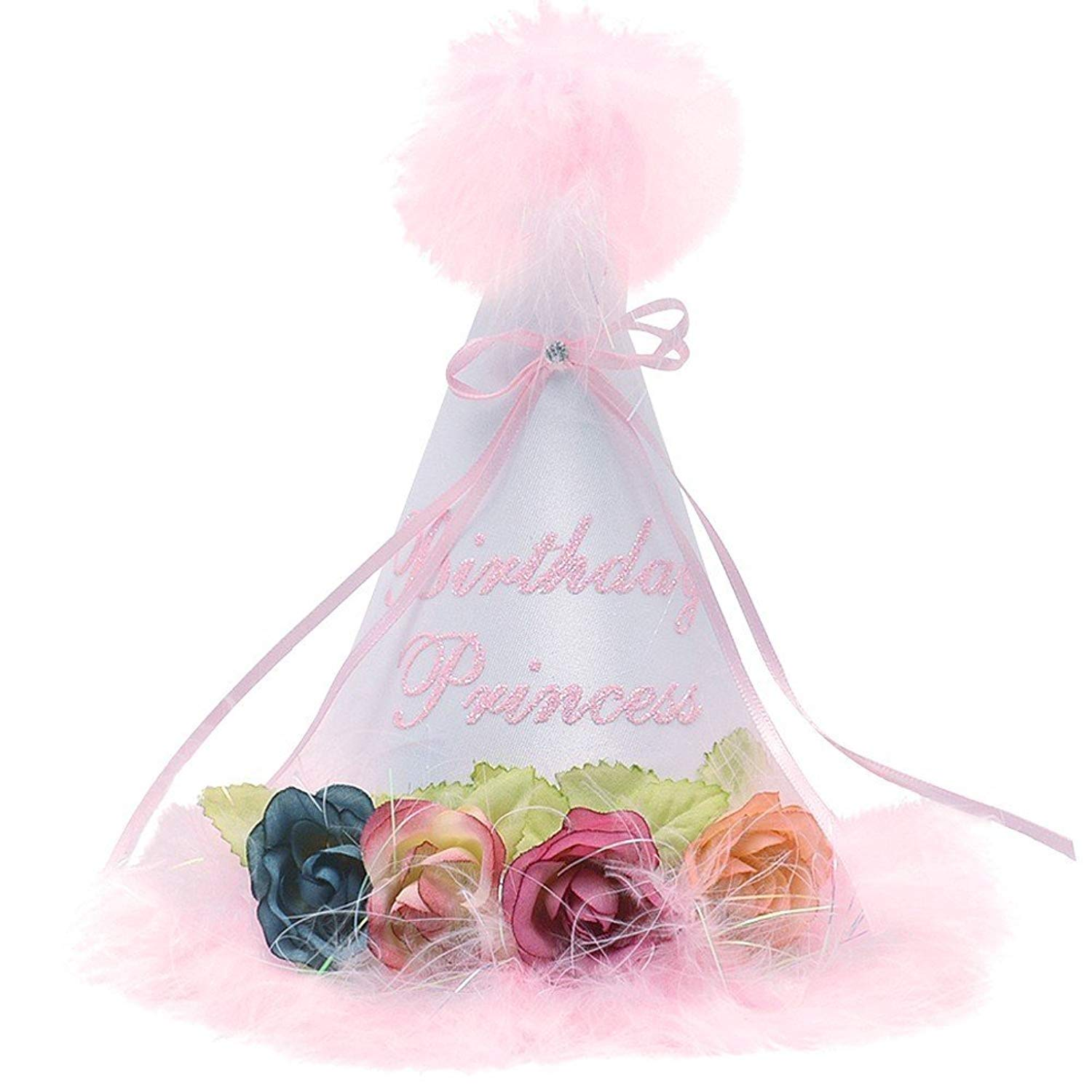 Get Quotations · Sophias Style Girls White Pink Fluffy Feather Flower  Birthday Princess Cone Party Hat f1eb67701c9f