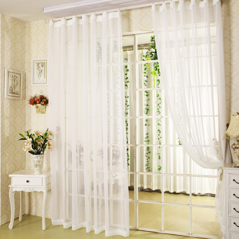 Hot Sale White Sheer Curtains For Balcony Door Bay Windows