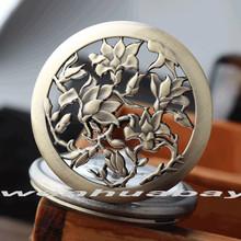 Nova Orquídea Bronze Antigo Oco Flor de Quartzo Grande Relógio de Bolso Colar de Pingente de Mulheres Presentes P327 relogio de bolso Das Mulheres Dos Homens