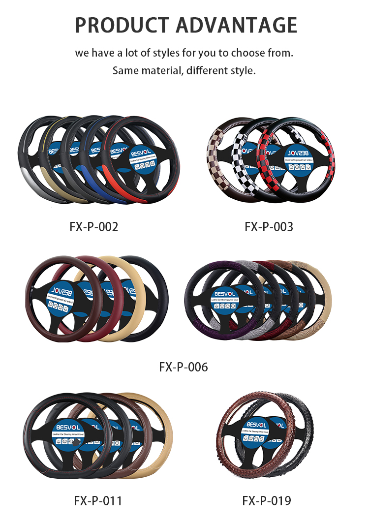 Leather steering wheel skin real wrap padded covers