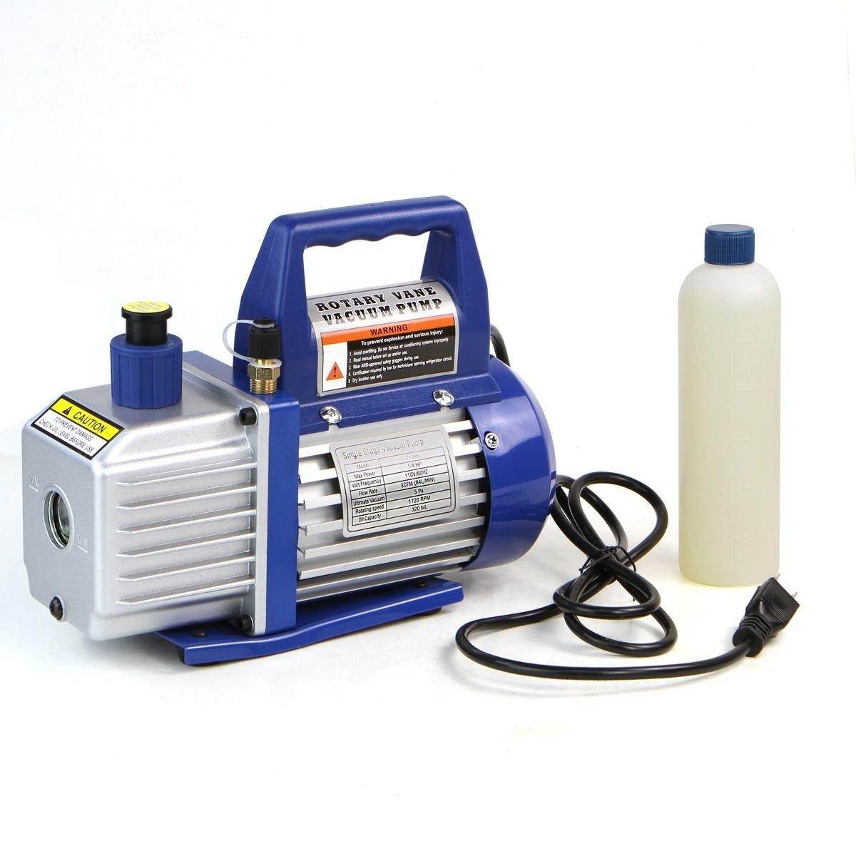 Goplus Vacuum Pump 1//3HP Rotary Vane Deep Refrigerant R410a R134a HVAC AC Air Tool with 1//4 Flare Inlet Port Single Stage 4CFM