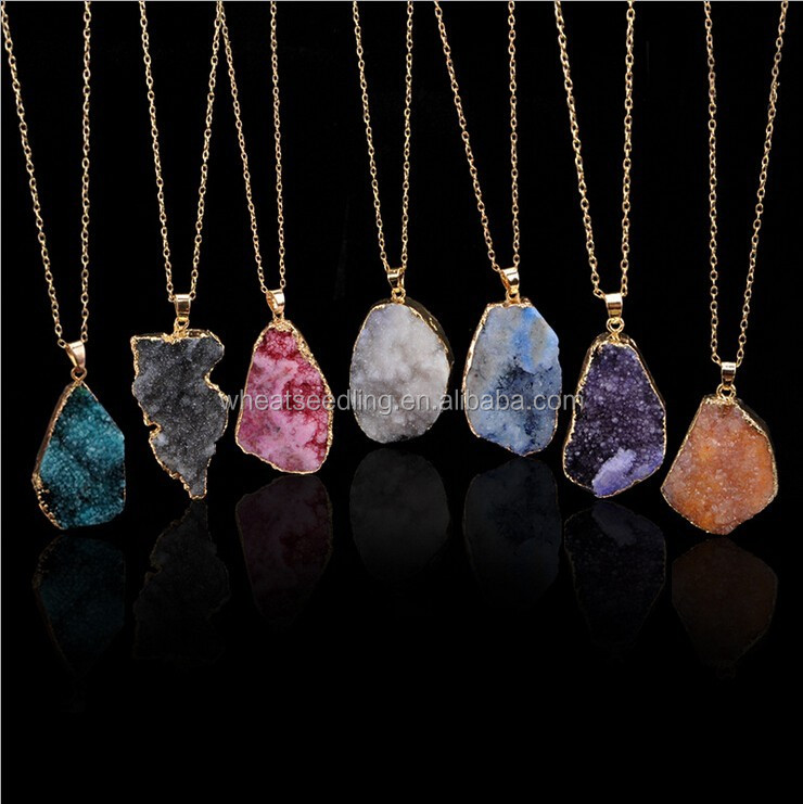 2016 Natural Stone Pendant Necklace Irregular Colorful Amethyst Stone Druzy Charms <strong>Jewelry</strong> Wholesale