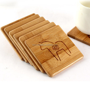 Custom cheap cute tea bamboo coaster / coffee cup mat with business logo