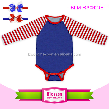 c97baab76c2e Wholesale newborn baby clothes red stripes sleeve raglan romper toddler  bodysuit 4th of july patriotic rompers