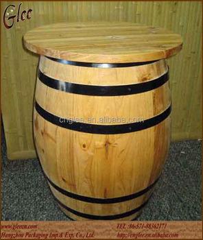Special Design Barrel Shape Wooden Barrel Bar Table