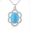 925 Sterling Silver Blue Cat Eye gemstone flower pendant with six petals