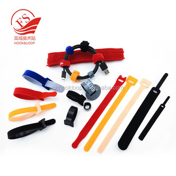 Custom logo all kinds of color high strength nylon hook and loop cable ties