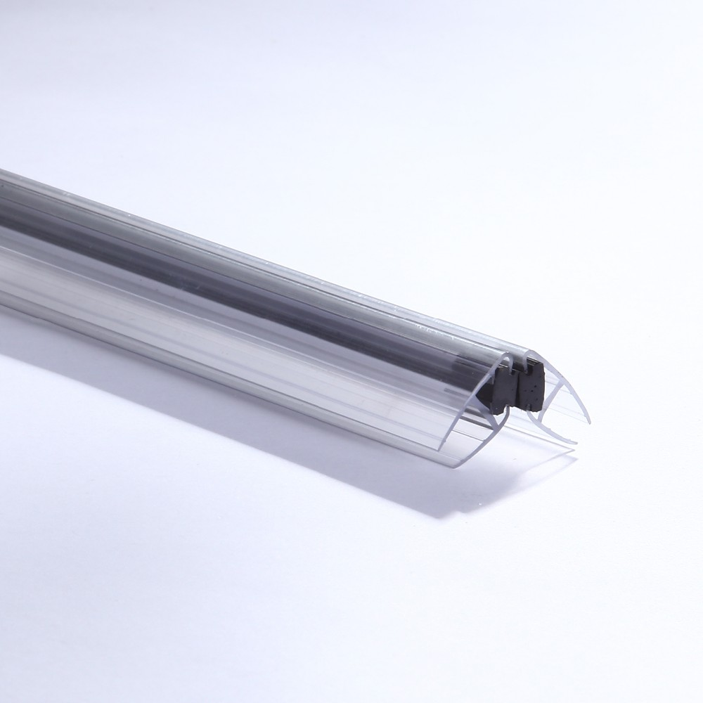 Clear Pvc Extrusie 90 & 180 Graden Magnetische Afdichting Strip/Waterdichte Douche Deur Glas Seals