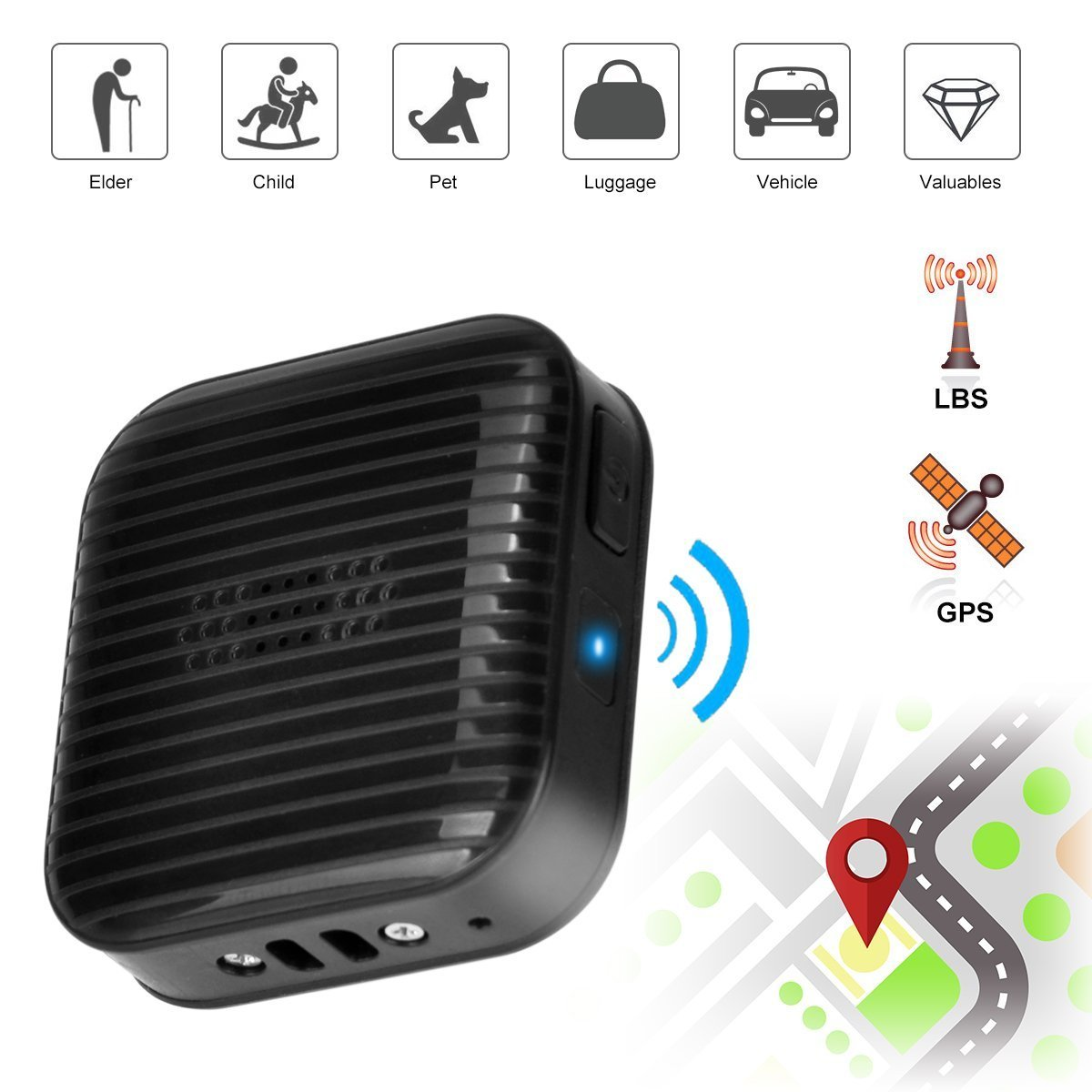 Mini GPS Tracker Locator, Real-time Tracking SOS Alarm Dual-call Function Anti-lost Monitoring Personal Trackers for Elder Kids Children Pets Dogs Cats Luggage Asset Vehicle Motorcycles by App Control