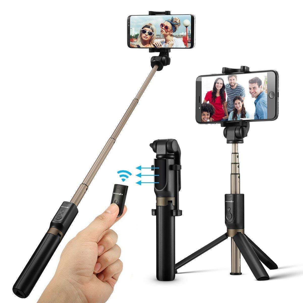 Selfie Stick Bluetooth, BlitzWolf Extendable Selfie Stick Tripod with Wireless Remote for iPhone Xs MAX/XR/XS/X/iPhone 8/8 Plus/iPhone 7/7 Plus/iPhone 6 Plus, Galaxy S9/S9 Plus/S8/S8 Plus/S7, More