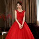 Real Pictures A Line Sleeveless Lace Appliqued Red Wedding Dress