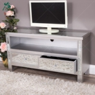 Two Drawers Silver Glass Mirrored TV Stand