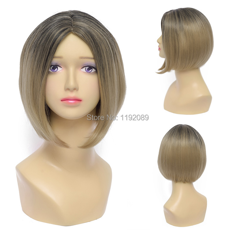 Cheap 12 inches Short Straight Blonde Grey Ombre Anime Cosplay Wig Haikyuu Kozumekenma Synthetic Hair Wigs